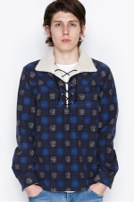2016 A/W NUMBER (N)INE BOA PULLOVER  SHIRTS_FLANNEL OMBRE CHECK BLUE